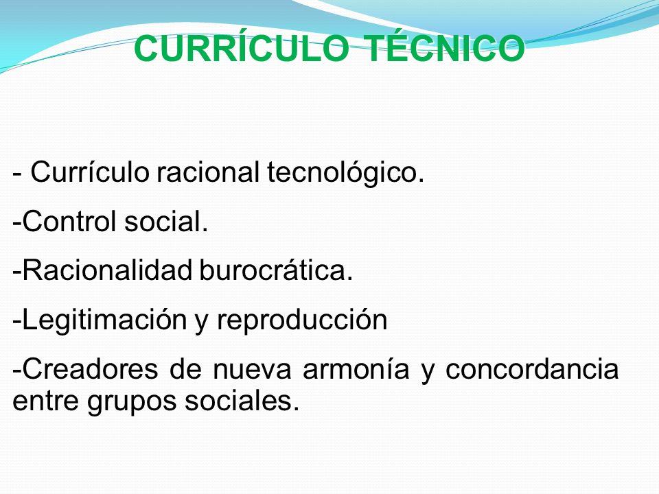 CURRÍCULO TÉCNICO Currículo racional tecnológico. Control social.