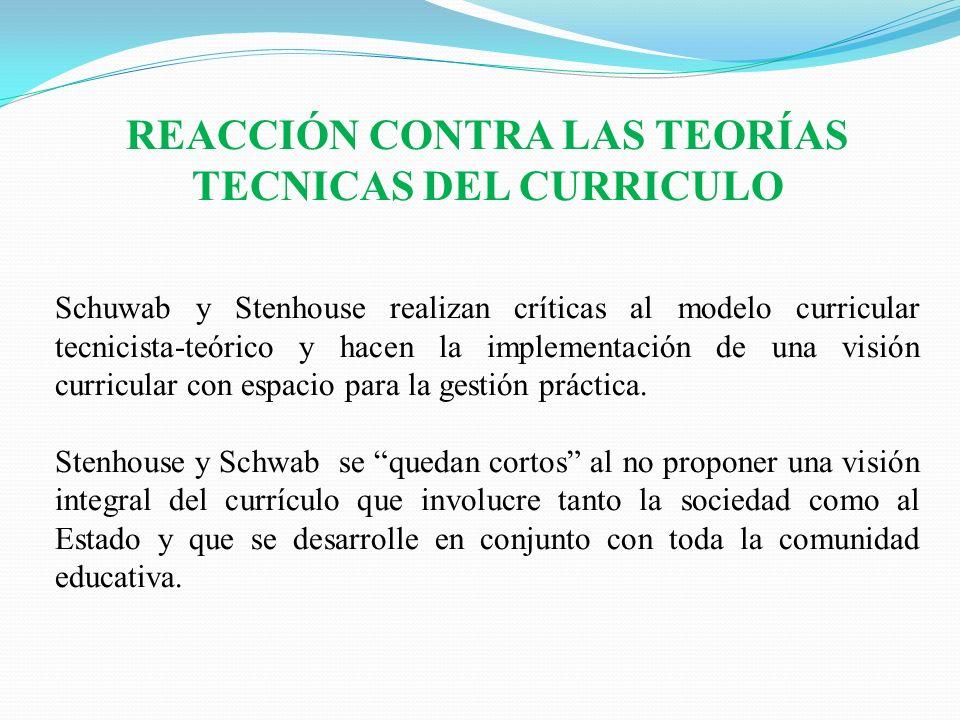 REACCIÓN CONTRA LAS TEORÍAS TECNICAS DEL CURRICULO