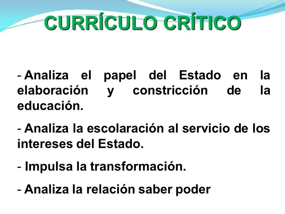 CURRÍCULO CRÍTICOAnaliza el papel del Estado en la elaboración y constricción de la educación.