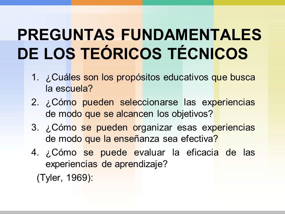PREGUNTAS FUNDAMENTALES DE LOS TEÓRICOS TÉCNICOS