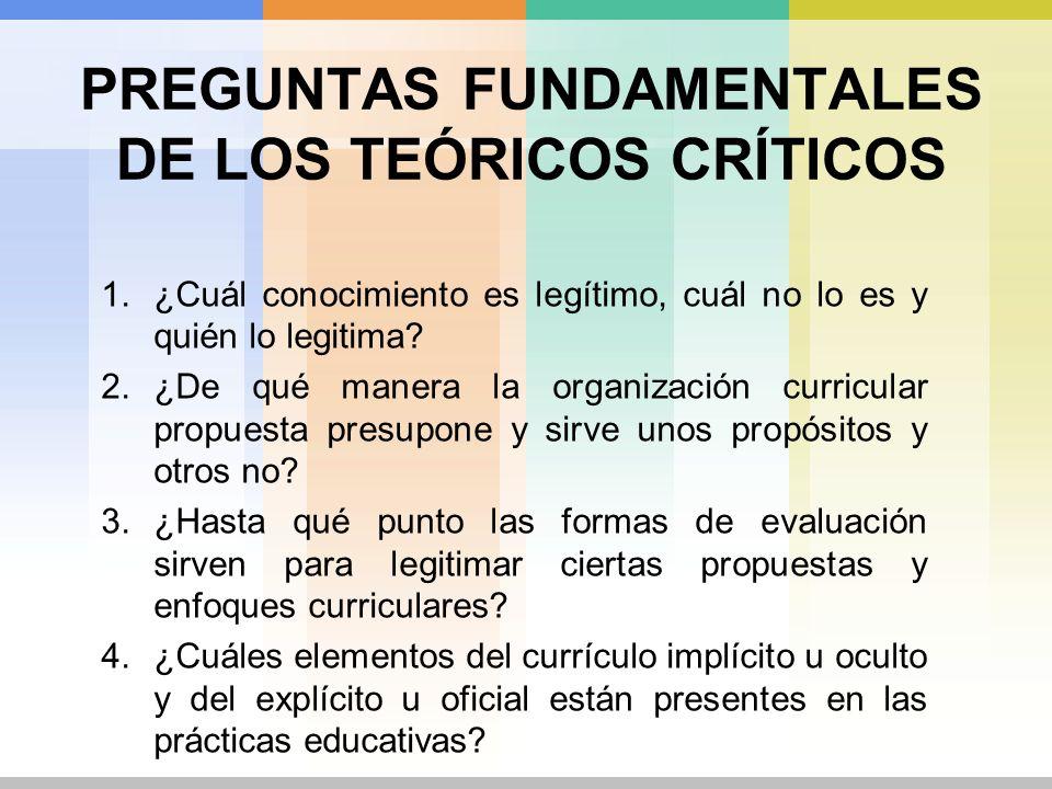PREGUNTAS FUNDAMENTALES DE LOS TEÓRICOS CRÍTICOS
