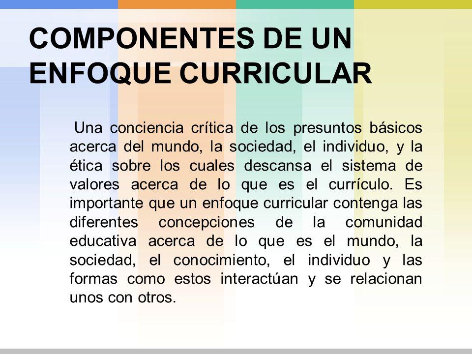 COMPONENTES DE UN ENFOQUE CURRICULAR