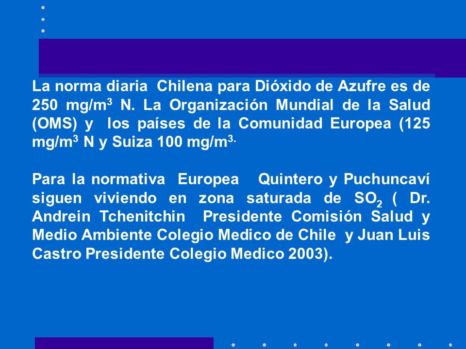 La norma diaria Chilena para Dióxido de Azufre es de 250 mg/m3 N
