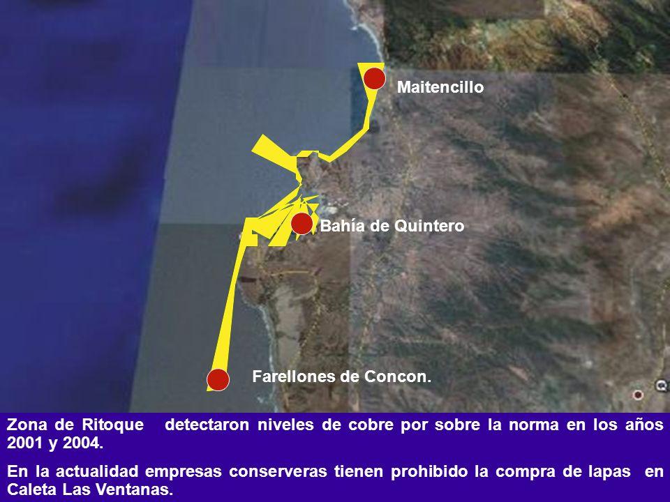 Maitencillo Bahía de Quintero. Farellones de Concon. Zona de Ritoque detectaron niveles de cobre por sobre la norma en los años 2001 y 2004.