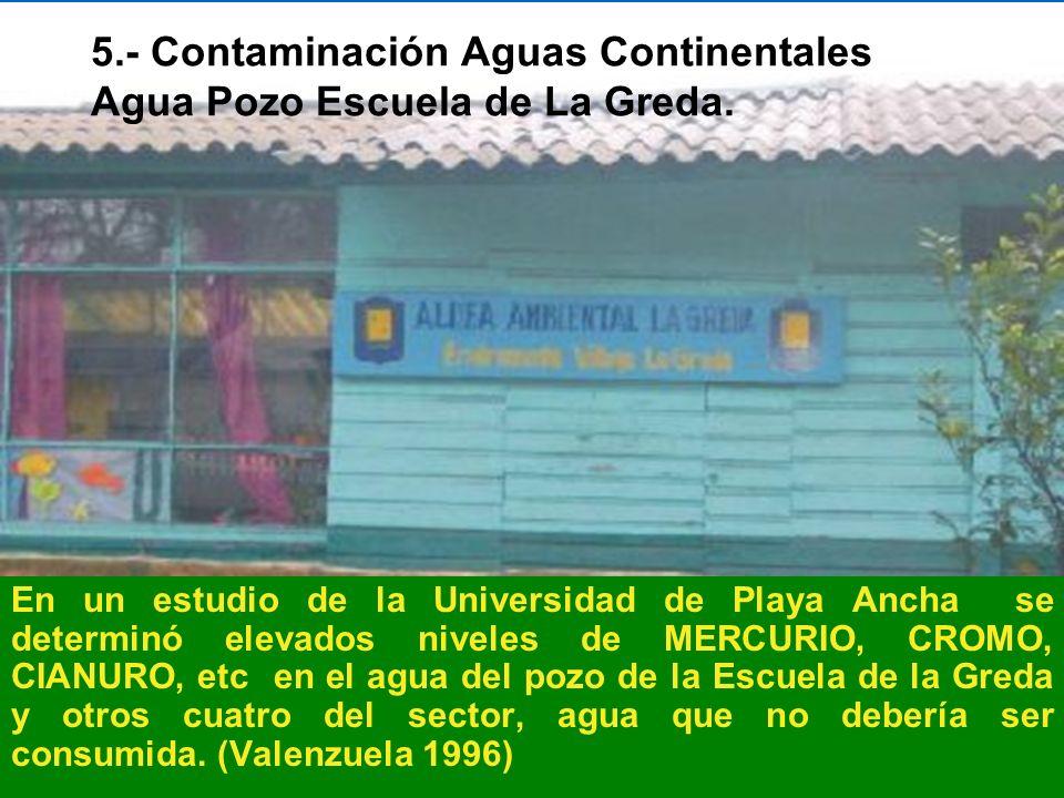 5.- Contaminación Aguas Continentales Agua Pozo Escuela de La Greda.
