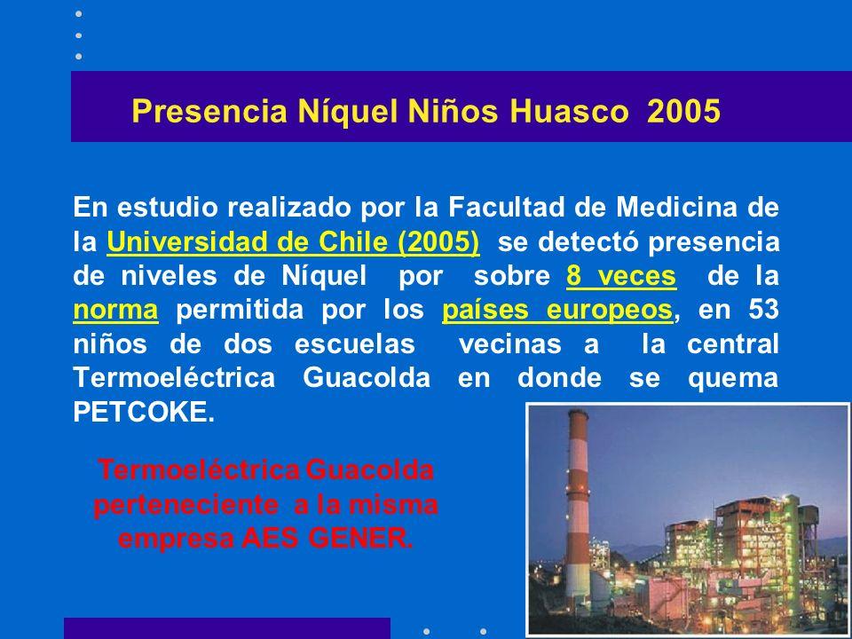 Presencia Níquel Niños Huasco 2005