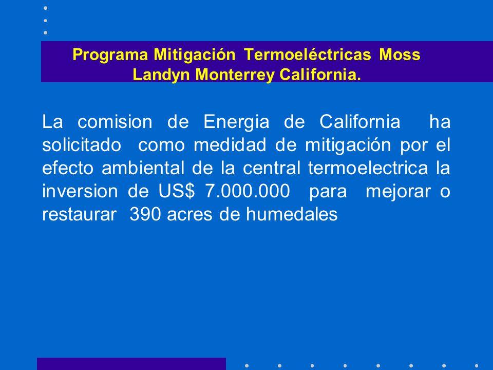 Programa Mitigación Termoeléctricas Moss Landyn Monterrey California.