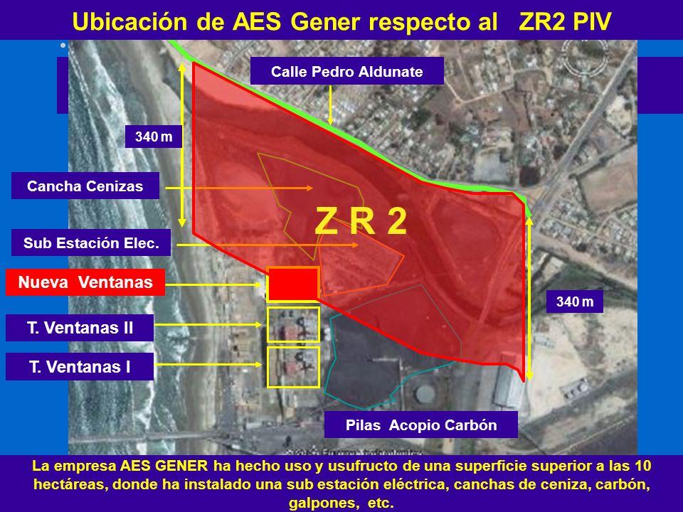 Ubicación de AES Gener respecto al ZR2 PIV