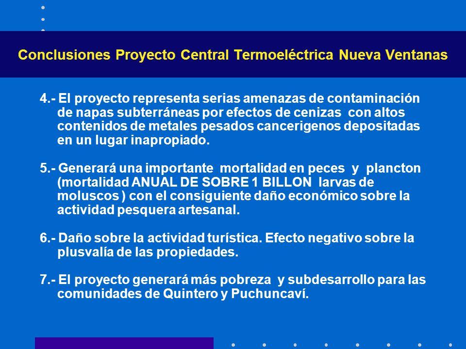 Conclusiones Proyecto Central Termoeléctrica Nueva Ventanas