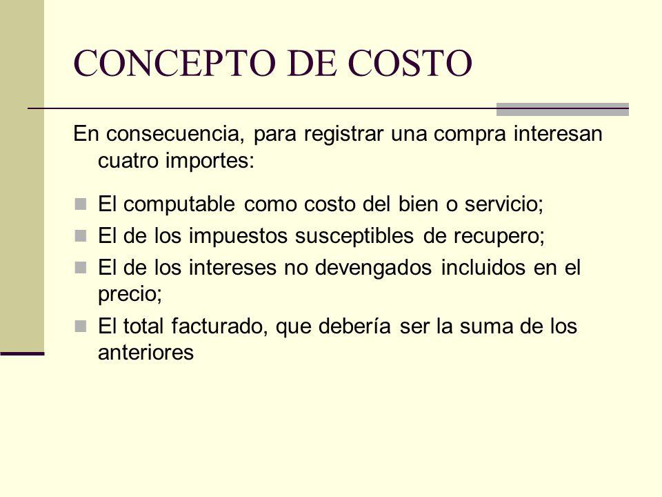 CONCEPTO DE COSTO En consecuencia, para registrar una compra interesan cuatro importes: El computable como costo del bien o servicio;