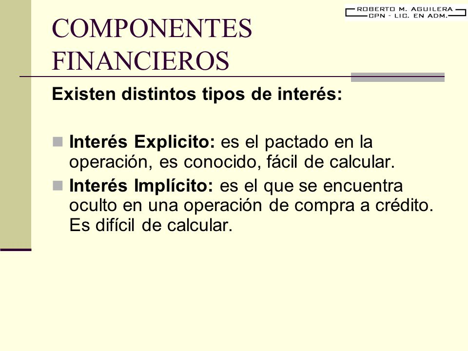 COMPONENTES FINANCIEROS