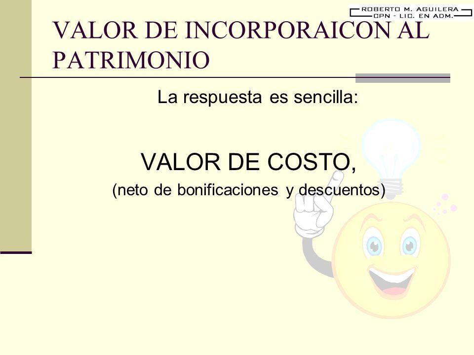 VALOR DE INCORPORAICON AL PATRIMONIO