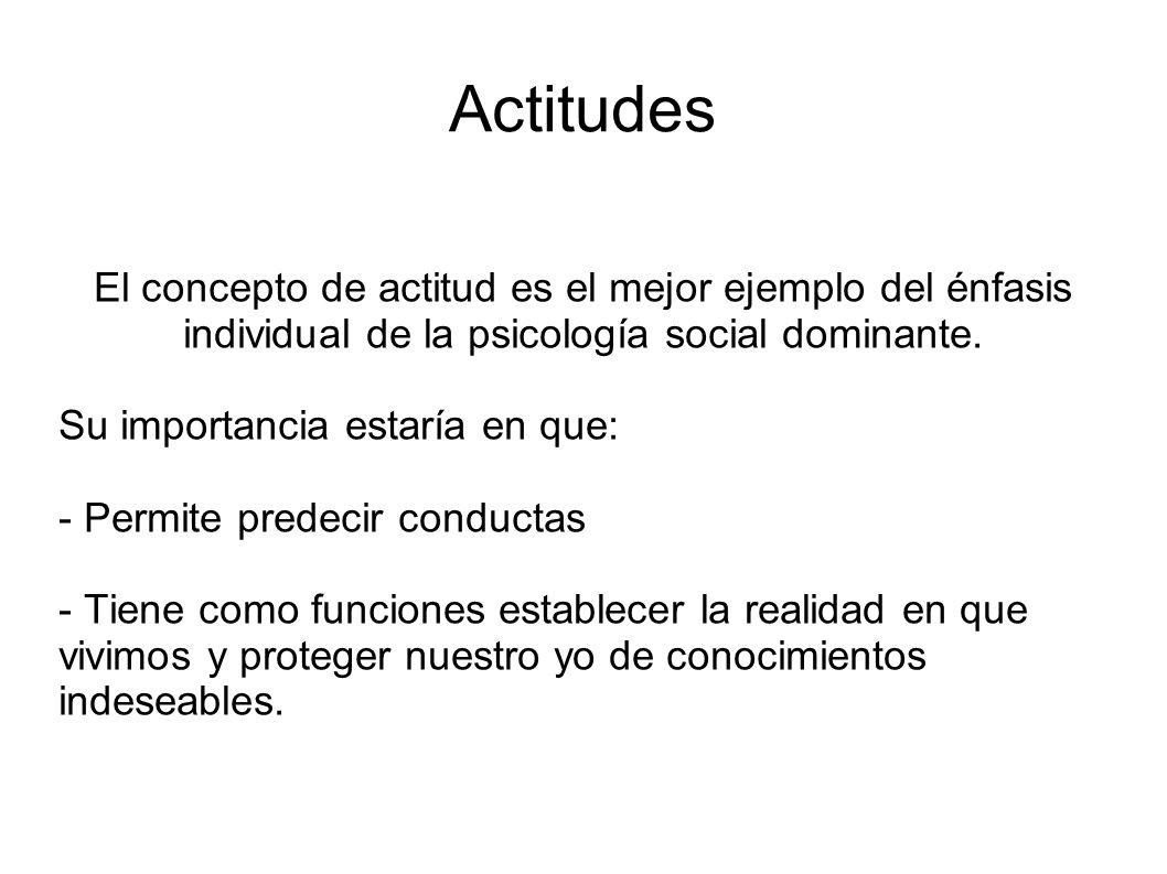 Actitudes El concepto de actitud es el mejor ejemplo del énfasis individual de la psicología social dominante.