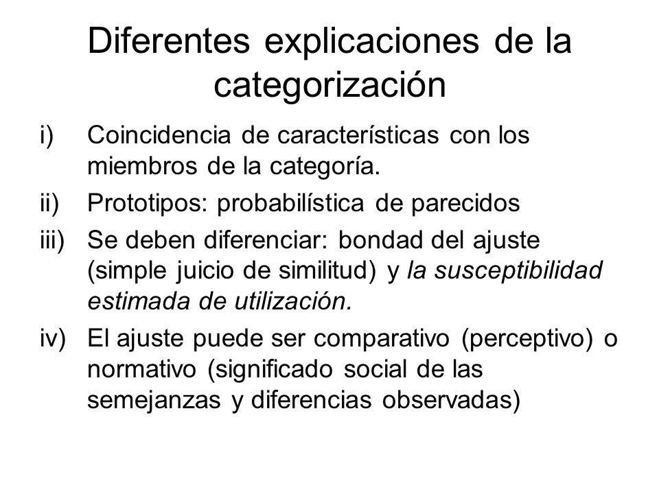 Diferentes explicaciones de la categorización