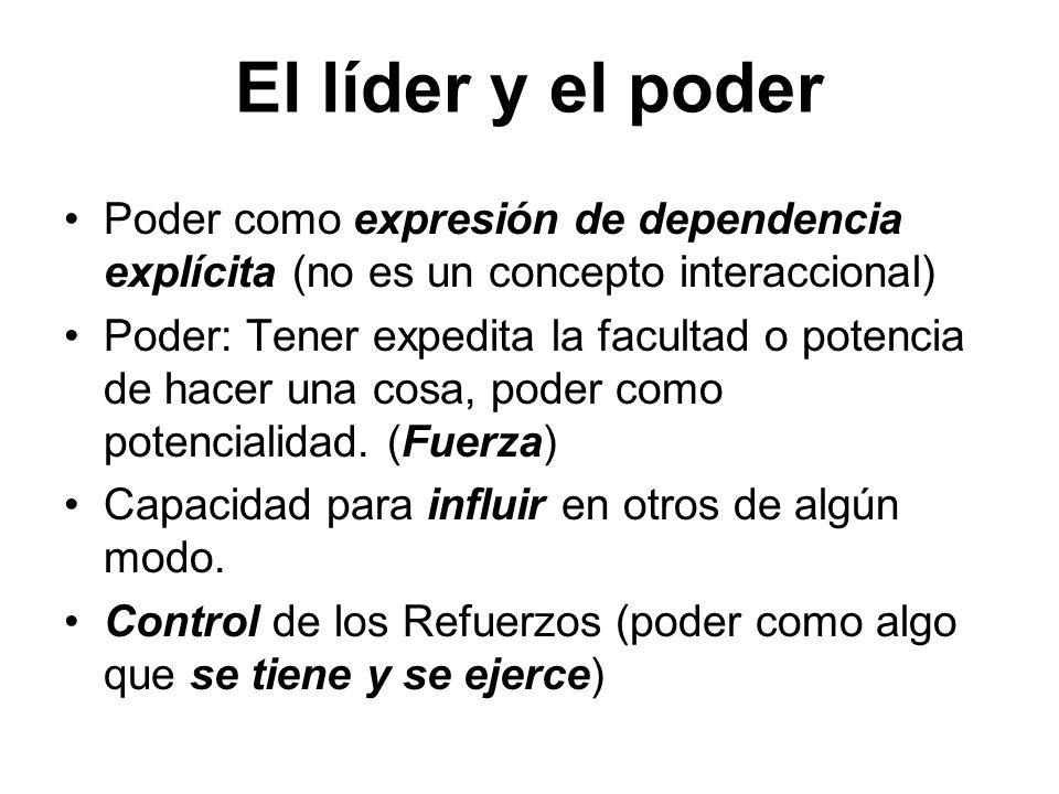 El líder y el poder Poder como expresión de dependencia explícita (no es un concepto interaccional)
