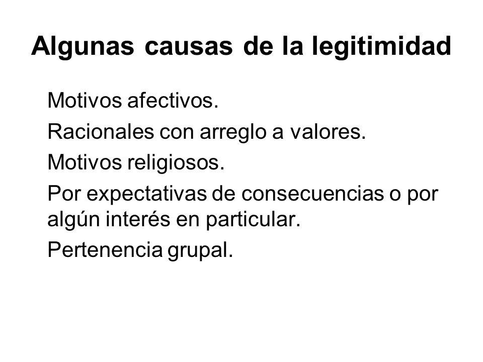 Algunas causas de la legitimidad