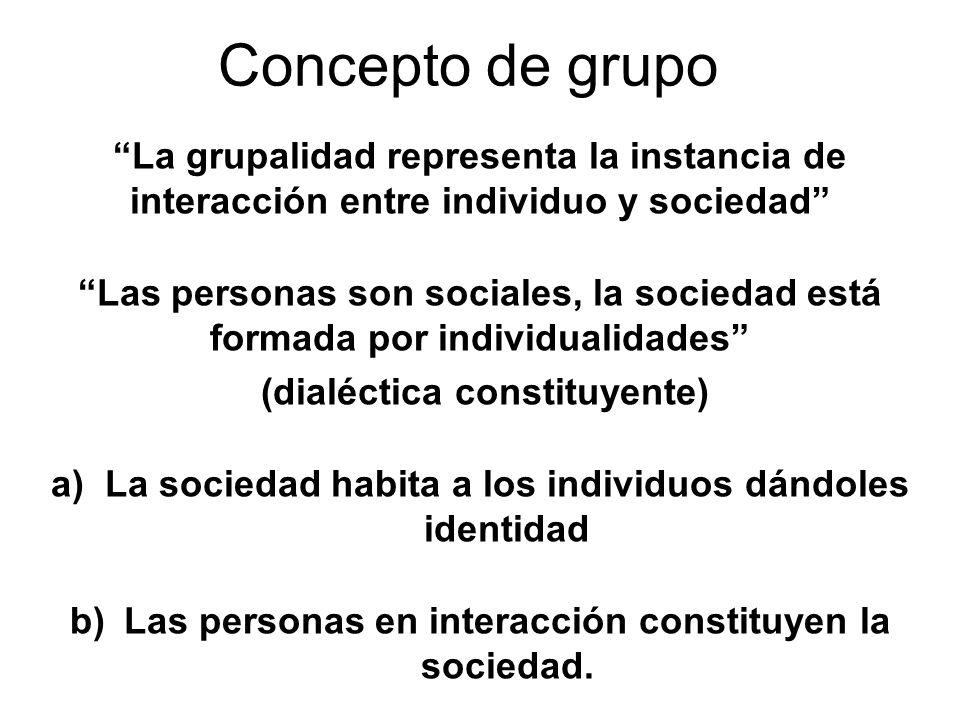 Concepto de grupo La grupalidad representa la instancia de interacción entre individuo y sociedad