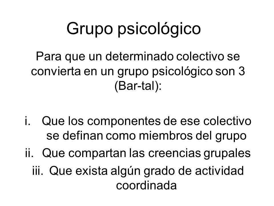 Grupo psicológico Para que un determinado colectivo se convierta en un grupo psicológico son 3 (Bar-tal):