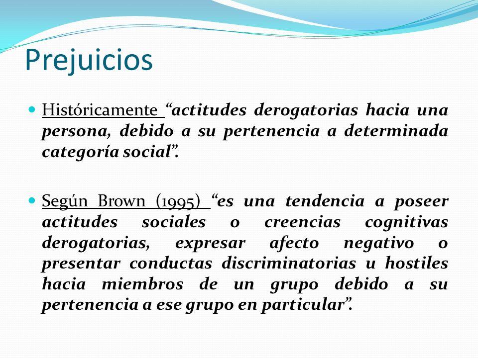 Prejuicios Históricamente actitudes derogatorias hacia una persona, debido a su pertenencia a determinada categoría social .