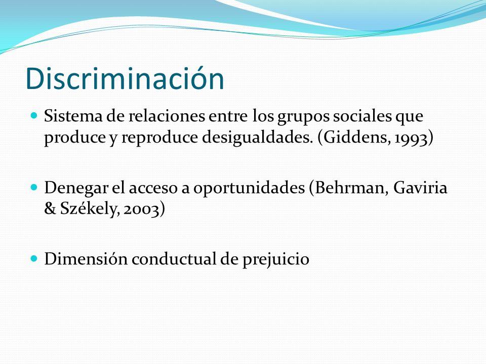 DiscriminaciónSistema de relaciones entre los grupos sociales que produce y reproduce desigualdades. (Giddens, 1993)