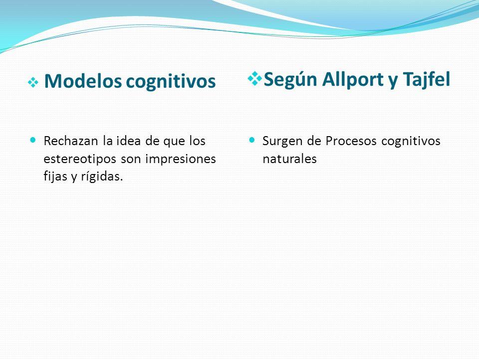 Según Allport y Tajfel Modelos cognitivos