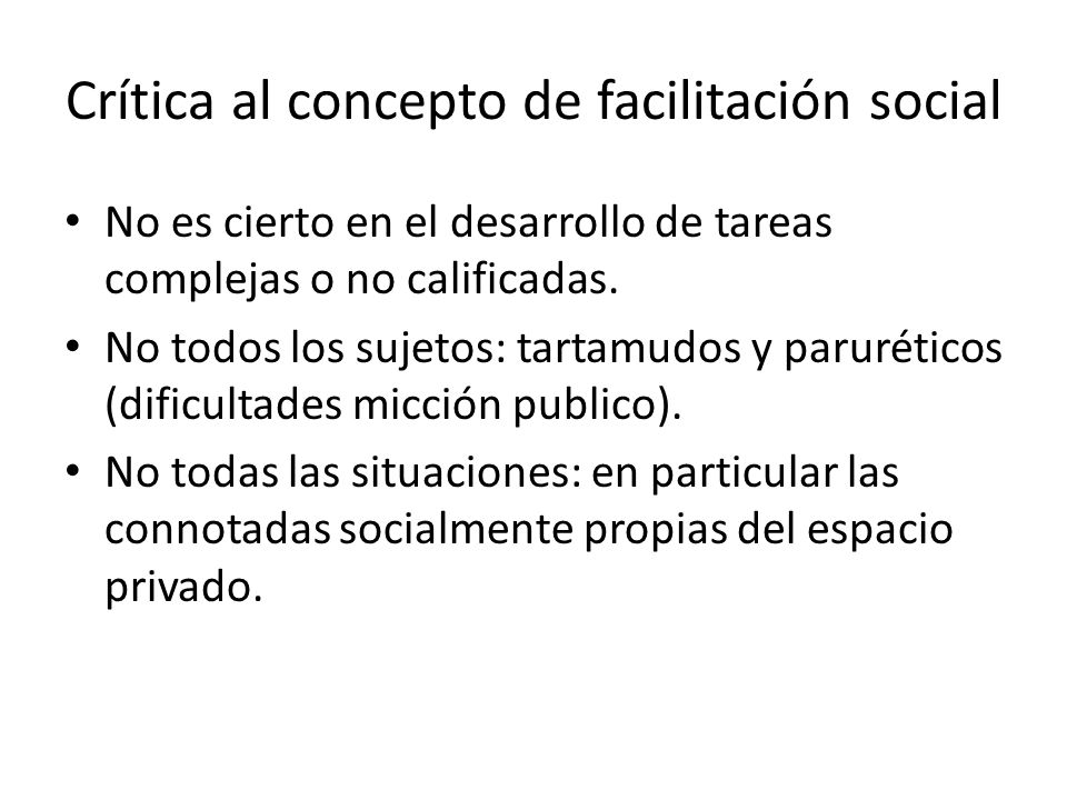 Crítica al concepto de facilitación social