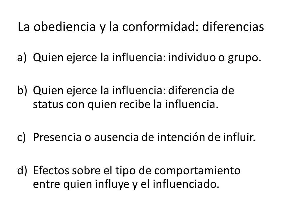 La obediencia y la conformidad: diferencias