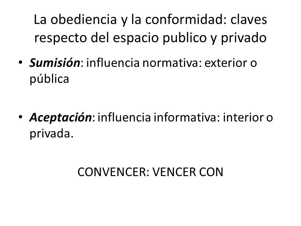 La obediencia y la conformidad: claves respecto del espacio publico y privado