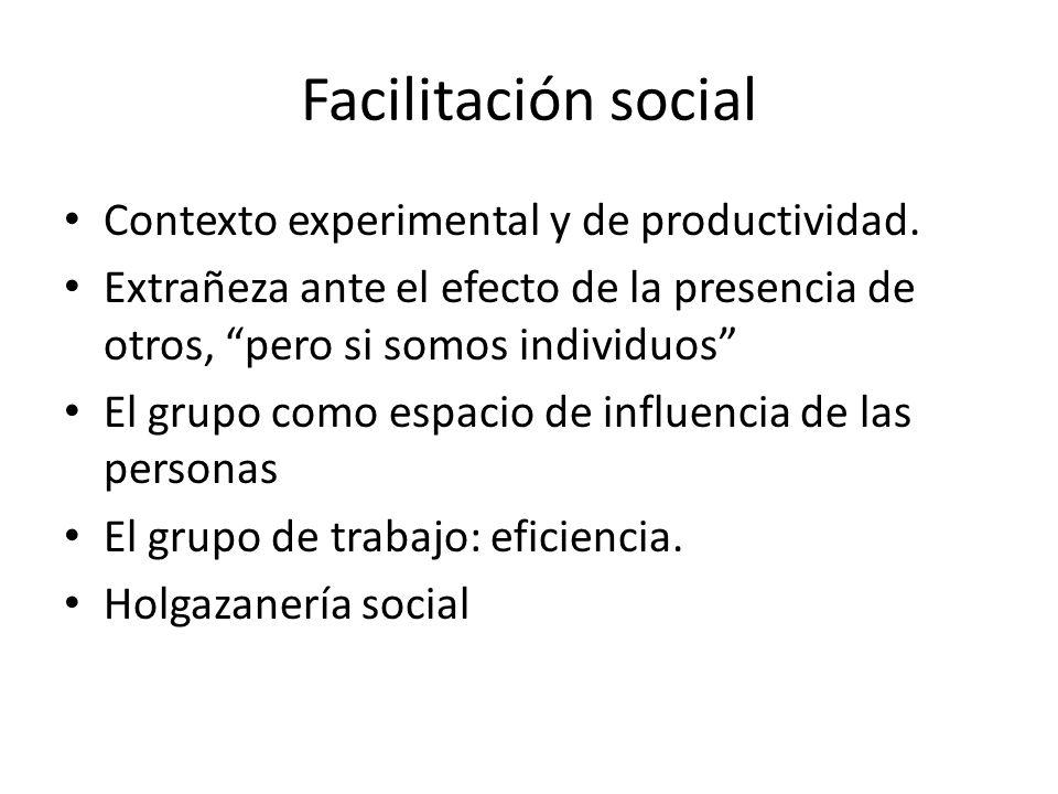 Facilitación social Contexto experimental y de productividad.
