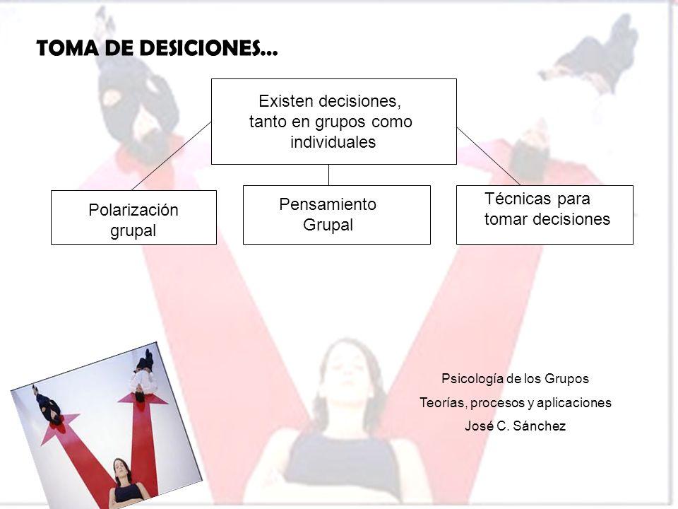 TOMA DE DESICIONES… Existen decisiones, tanto en grupos como