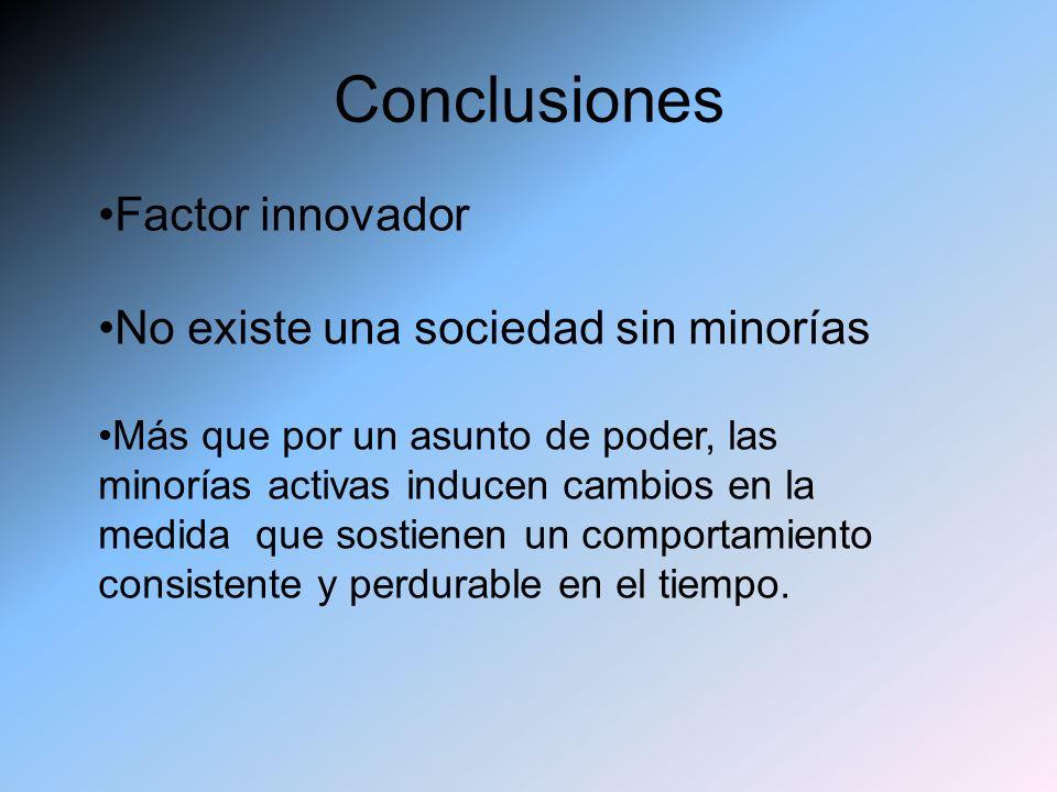 Conclusiones Factor innovador No existe una sociedad sin minorías