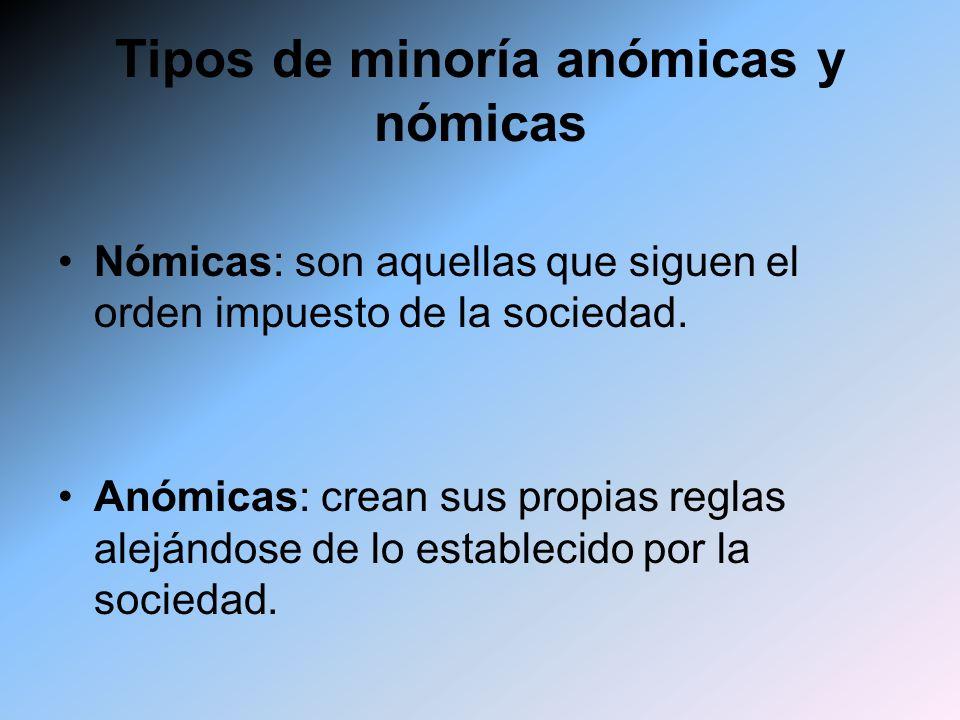 Tipos de minoría anómicas y nómicas
