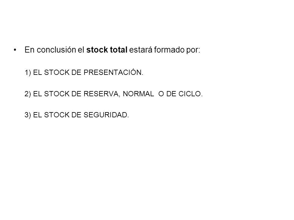 En conclusión el stock total estará formado por: