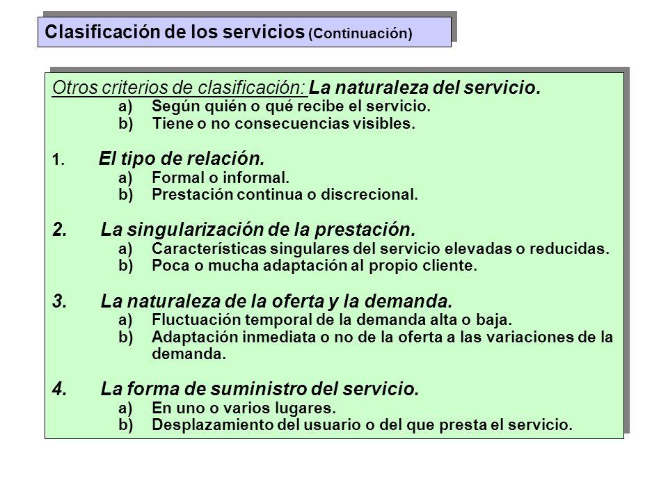 Clasificación de los servicios (Continuación)