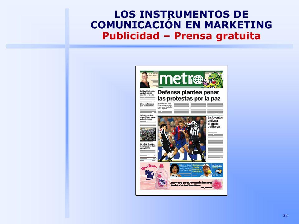 LOS INSTRUMENTOS DE COMUNICACIÓN EN MARKETING Publicidad – Prensa gratuita
