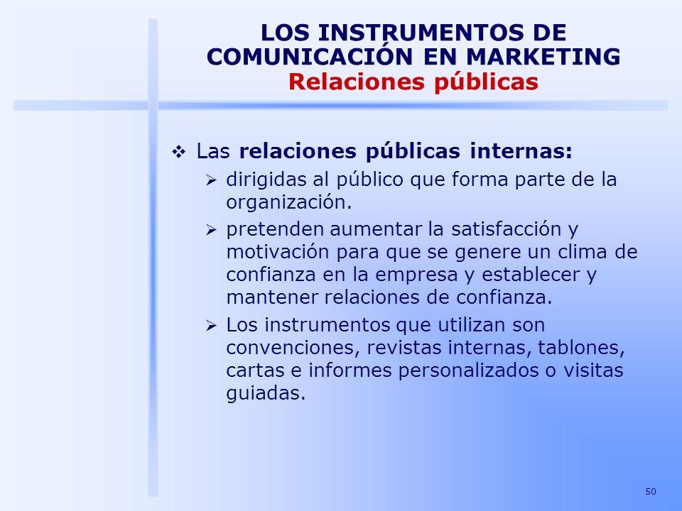 LOS INSTRUMENTOS DE COMUNICACIÓN EN MARKETING Relaciones públicas