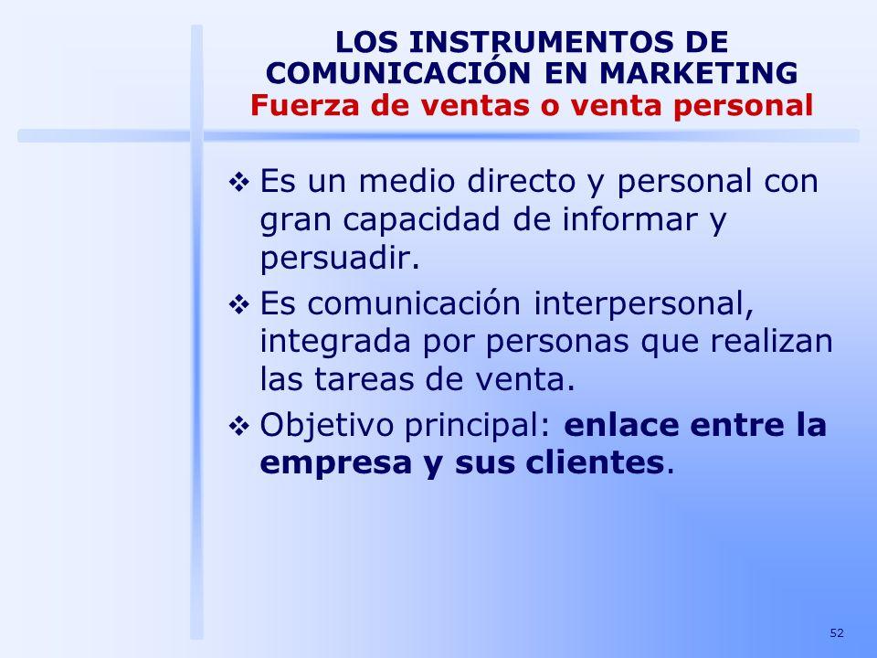 Objetivo principal: enlace entre la empresa y sus clientes.
