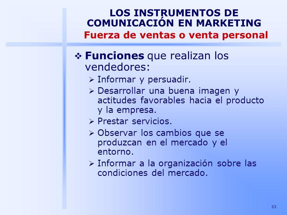 Funciones que realizan los vendedores:
