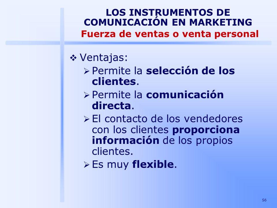 Permite la selección de los clientes. Permite la comunicación directa.