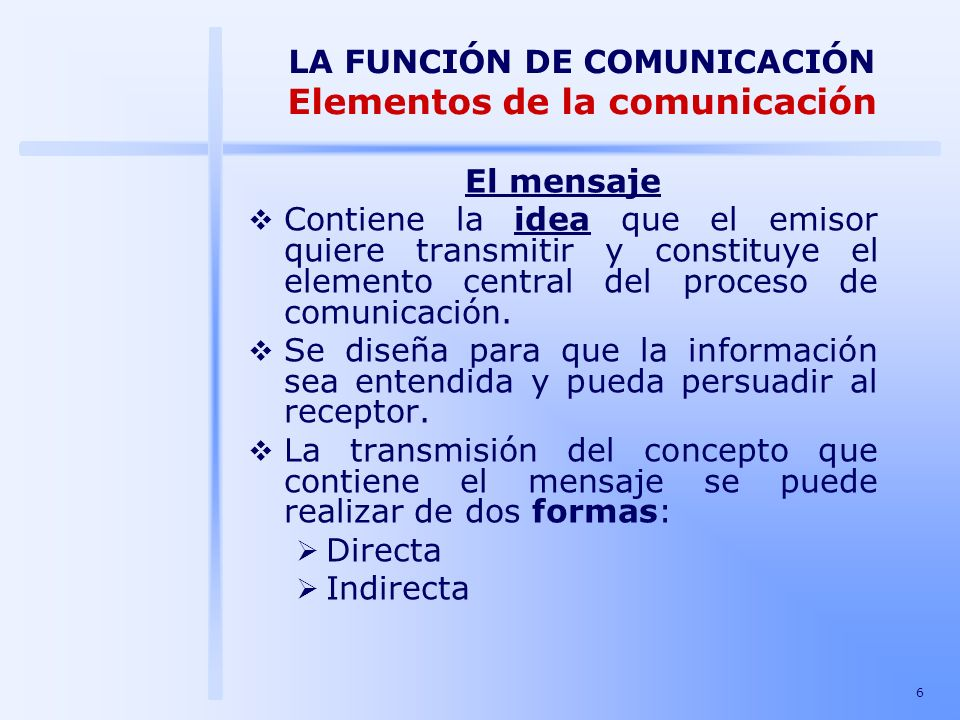 LA FUNCIÓN DE COMUNICACIÓN Elementos de la comunicación
