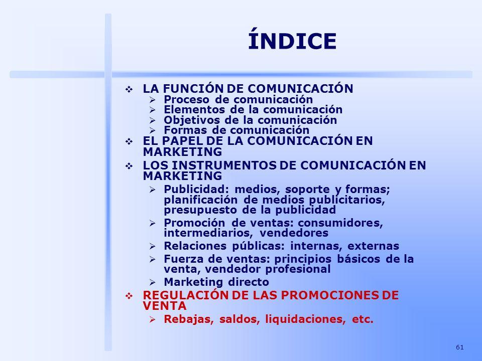 ÍNDICE LA FUNCIÓN DE COMUNICACIÓN