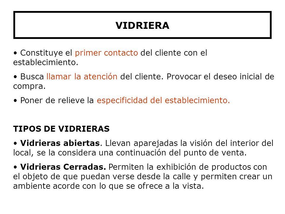 VIDRIERA Constituye el primer contacto del cliente con el establecimiento.