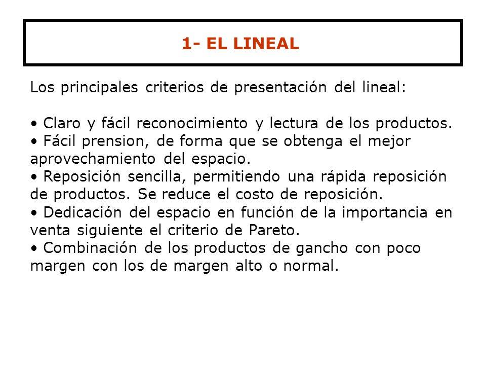 1- EL LINEAL Los principales criterios de presentación del lineal: