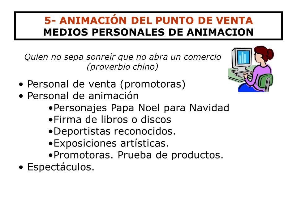 5- ANIMACIÓN DEL PUNTO DE VENTA MEDIOS PERSONALES DE ANIMACION