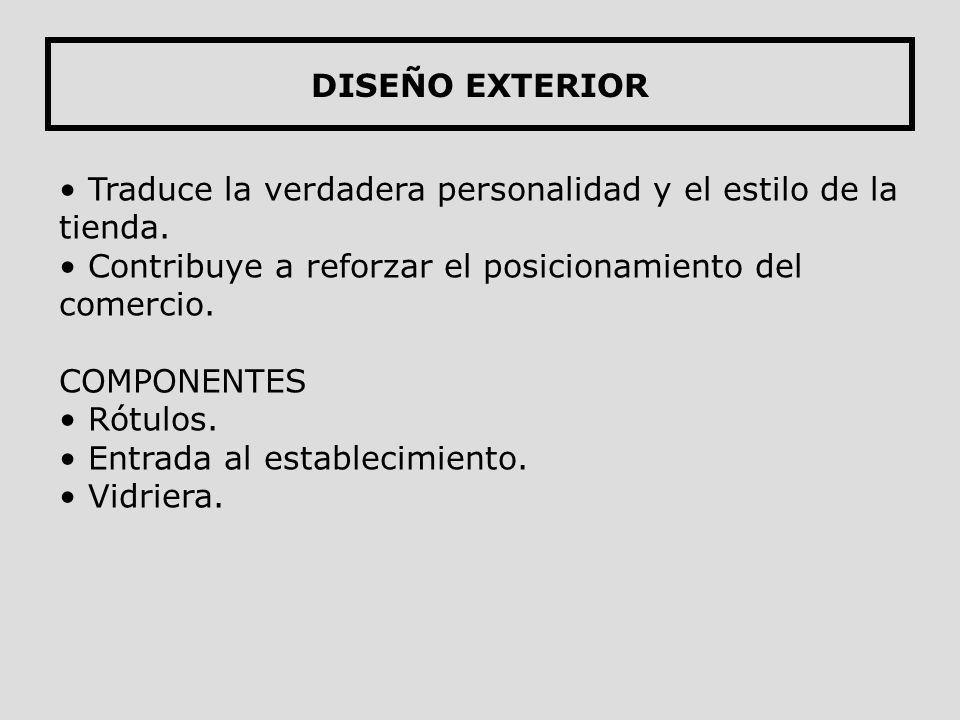 DISEÑO EXTERIOR Traduce la verdadera personalidad y el estilo de la tienda. Contribuye a reforzar el posicionamiento del comercio.