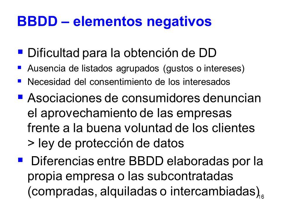 BBDD – elementos negativos