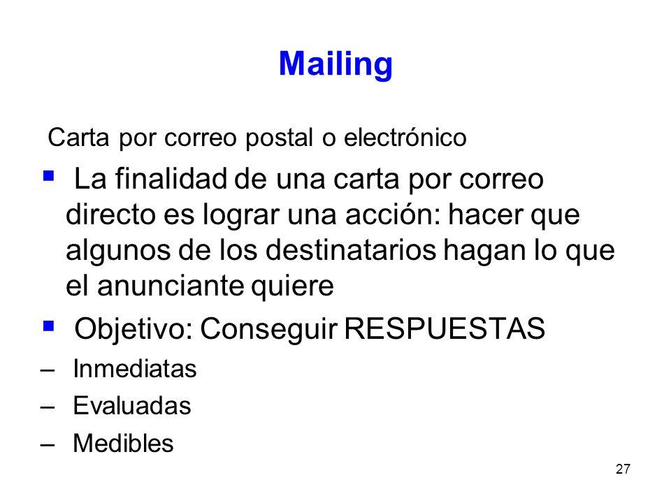 Mailing Carta por correo postal o electrónico.