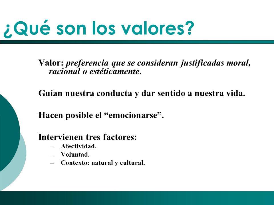 ¿Qué son los valores Valor: preferencia que se consideran justificadas moral, racional o estéticamente.