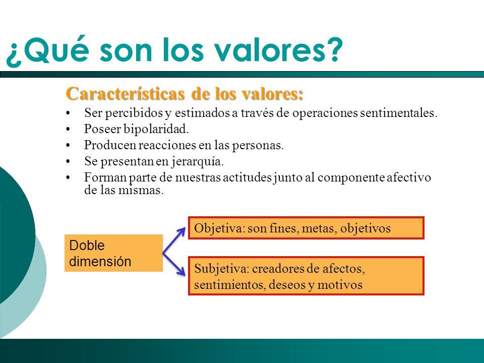 ¿Qué son los valores Características de los valores: