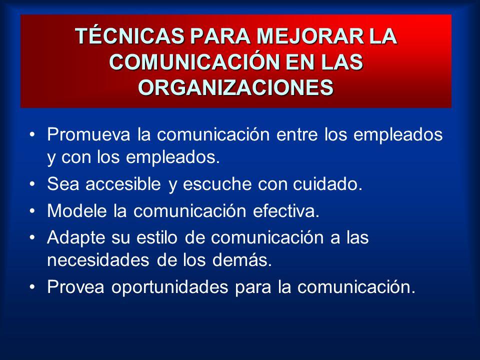 TÉCNICAS PARA MEJORAR LA COMUNICACIÓN EN LAS ORGANIZACIONES
